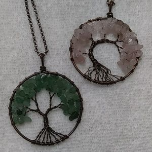Natural stone copper tree of life necklace